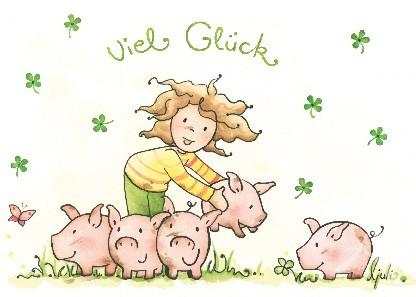 "Postkarte ""Viel Glück (Kleeblätter)"""