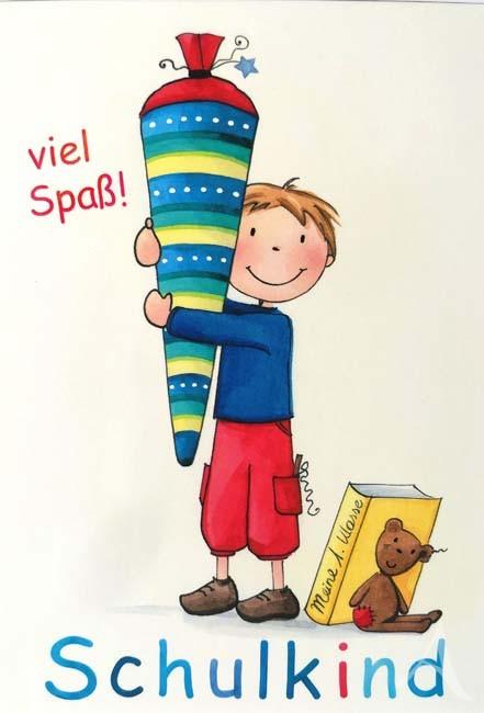 """Postkarte """"Schulkind (Junge)"""" von Juliane Zinnemann"""