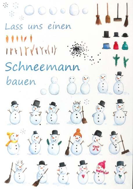 """Postkarte """"Lass uns einen Schneemann bauen"""""""