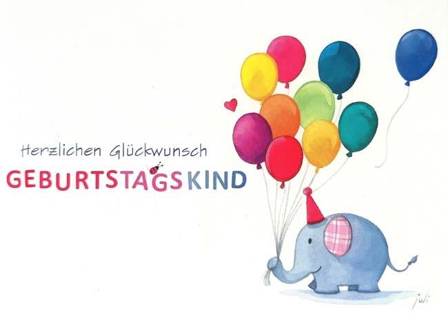 """Postkarte """"Herzlichen Glückwunsch - Geburtstagskind"""" (Elefant & Luftballons)"""