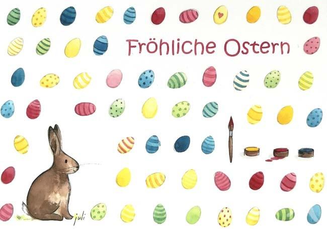 """Postkarte """"Fröhliche Ostern"""" (Hase mit bunten Eiern)"""
