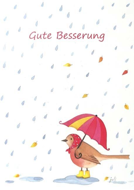 """Postkarte """"Gute Besserung"""" (Vogel mit Regenschirm)"""