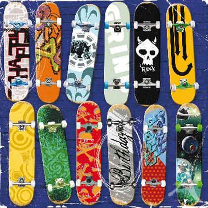 "Doppelkarte, ""Happy Birthday"" (Skateboards) - quadratisch"