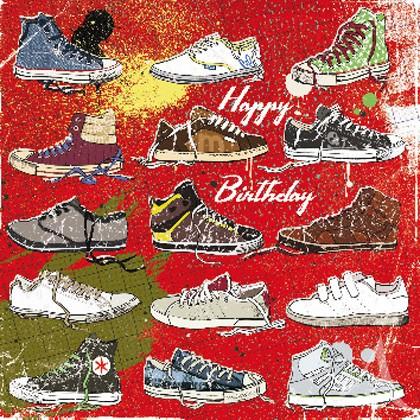 """Doppelkarte, """"Happy Birthday"""" (Sneakers) - quadratisch"""