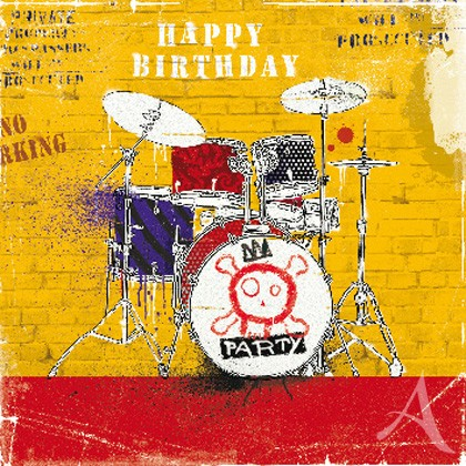 "Doppelkarte, ""Happy Birthday"" (Drums) - quadratisch"