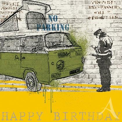 "Doppelkarte, ""Happy Birthday"" (No Parking) - quadratisch"