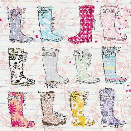 """Doppelkarte, """"Rubber Boots"""" - quadratisch"""