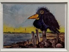 """""""Er weiß alles..."""" (Rabe) - GERAHMTER Kunstdruck von Ole West - (24 x 30)"""