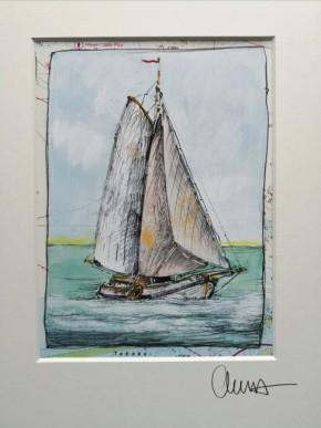 """""""Segelboot"""" - GERAHMTER Kunstdruck - HANDSIGNIERT von Ole West - (24 x 30)"""