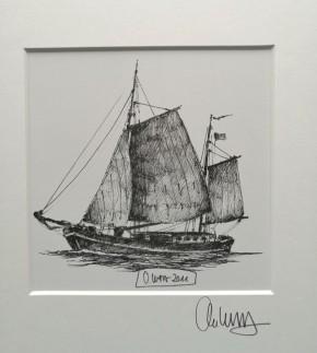 """""""Segelboot"""" (s/w) - GERAHMTER Kunstdruck - HANDSIGNIERT von Ole West - (30 x 30)"""