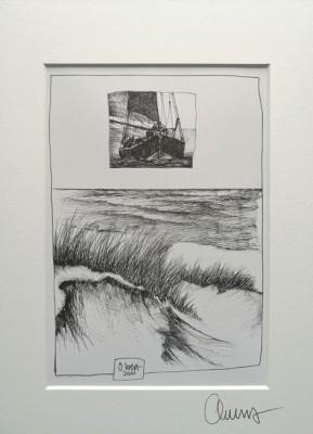 """""""Segelboot / Strand"""" (s/w)"""" - GERAHMTER Kunstdruck - HANDSIGNIERT von Ole West - (30 x 40)"""