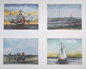 """Kunstdruck auf Naturpapier """"Alte Pricken"""" (Westerheversand) von Ole West (24 x 30)"""